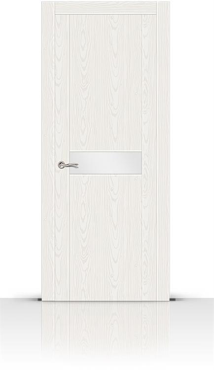 Межкомнатная дверь Турин-1 со стеклом (Белый Ясень, Шпон)