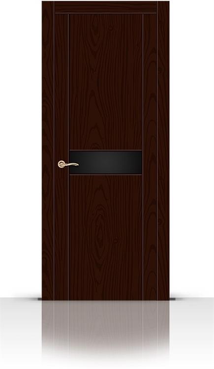 Межкомнатная дверь Турин-1 со стеклом (Ясень шоколад, Шпон)
