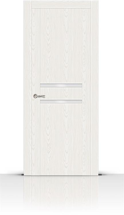Межкомнатная дверь Турин-2 со стеклом (Белый Ясень, Шпон)