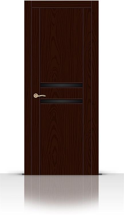Межкомнатная дверь Турин-2 со стеклом (Ясень шоколад, Шпон)