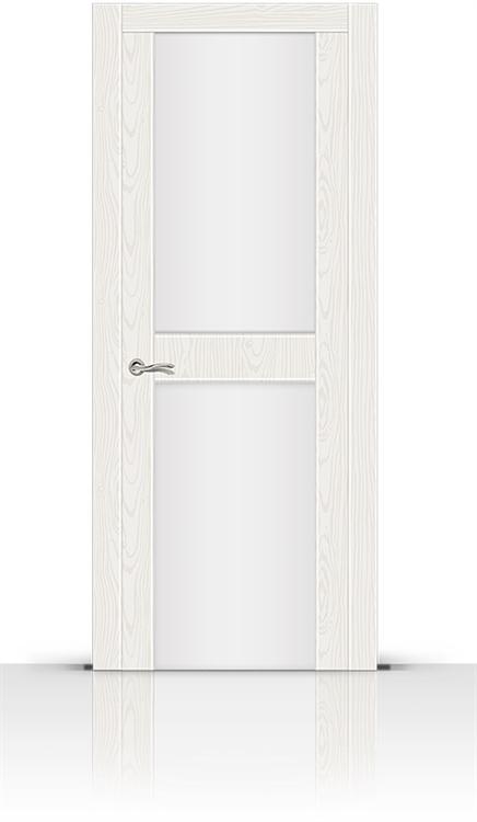 Межкомнатная дверь Турин-3 со стеклом (Белый Ясень, Шпон)