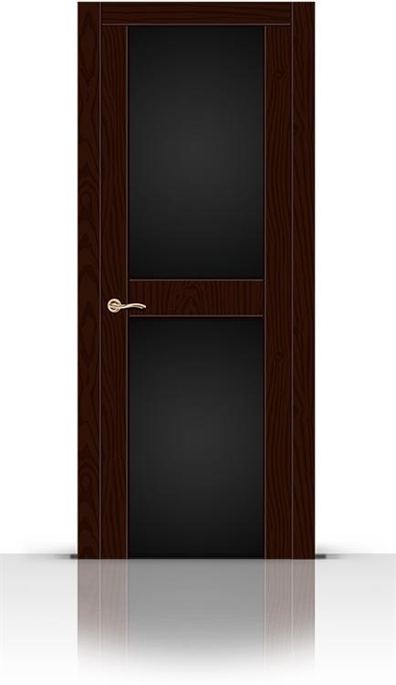 Межкомнатная дверь Турин-3 со стеклом (Ясень шоколад, Шпон)