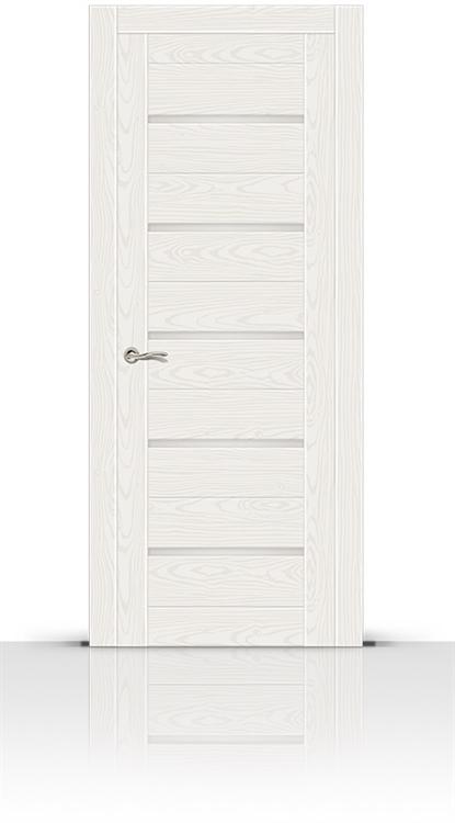 Межкомнатная дверь Турин-5 со стеклом (Белый Ясень, Шпон)