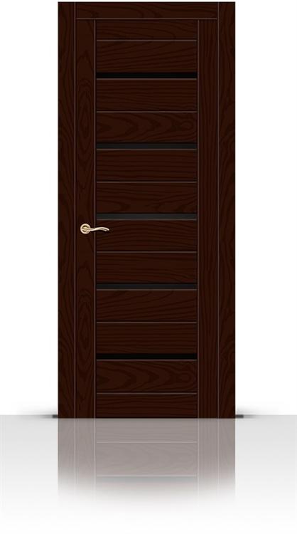 Межкомнатная дверь Турин-5 со стеклом (Ясень шоколад, Шпон)