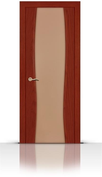 Межкомнатная дверь Жемчуг со стеклом (Красное дерево, Шпон)