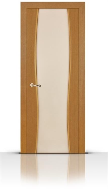 Межкомнатная дверь Жемчуг со стеклом (Светлый анегри, Шпон)