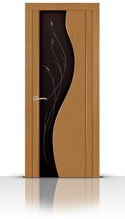 Межкомнатная дверь Корунд со стеклом (Анегри светлый, Шпон)