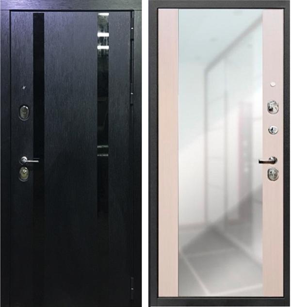 Входная металлическая дверь Персона Гранд-1 с зеркалом (Дуб черный)