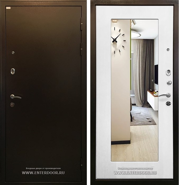 Входная металлическая дверь Ратибор Милан с зеркалом (Ясень белый)