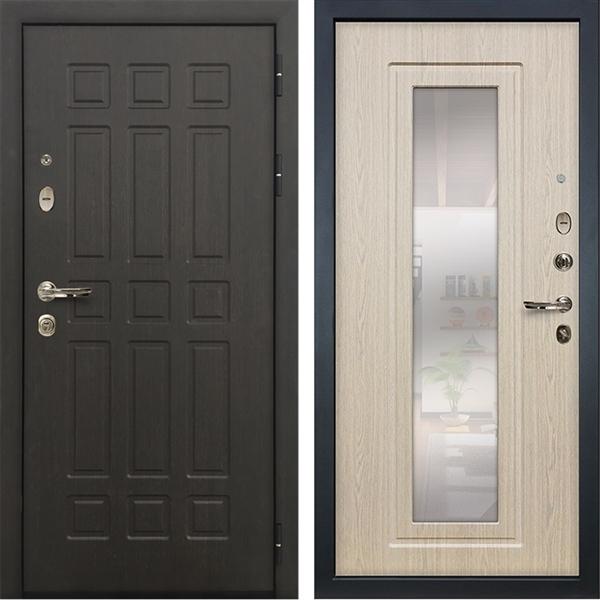 Входная металлическая дверь Лекс 8 Сенатор с зеркалом (Венге / Дуб белёный)