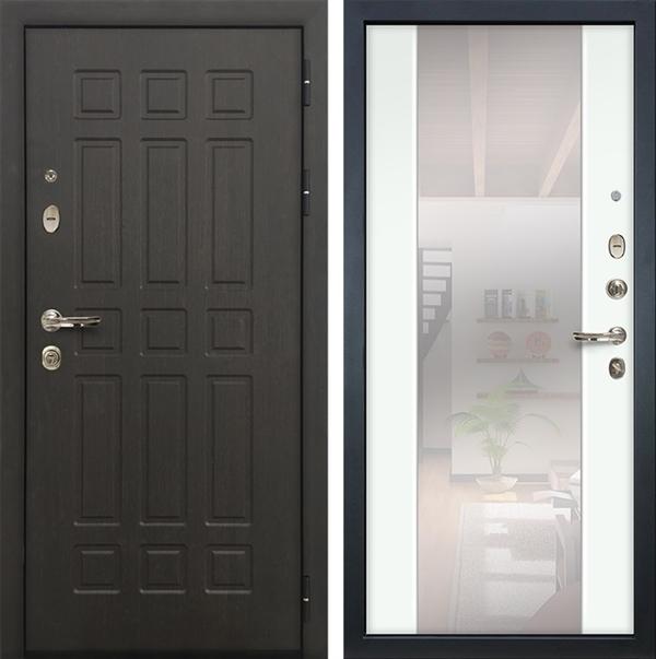 Входная дверь Лекс 8 Сенатор Стиль с зеркалом (Венге / Ясень белый)