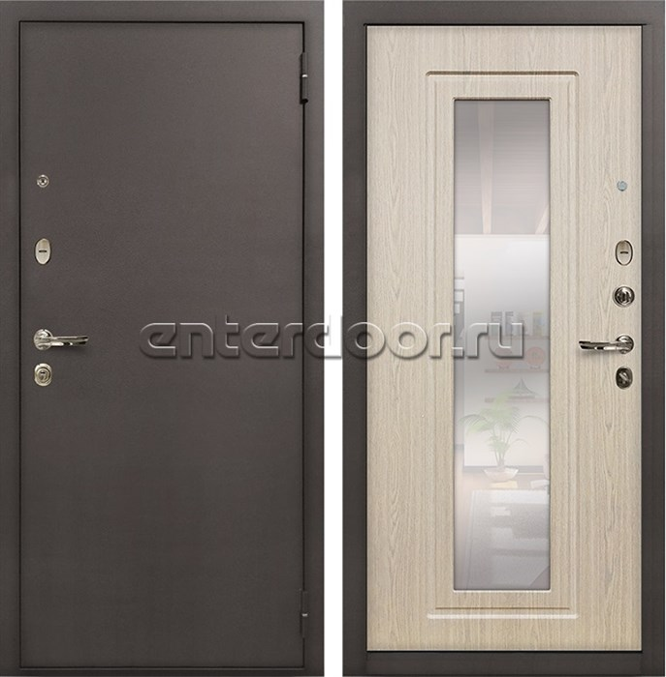 Входная металлическая дверь Лекс 1А с зеркалом Дуб беленый