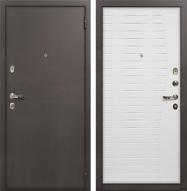 Входная металлическая дверь Лекс 1А Волна (Ясень белый)