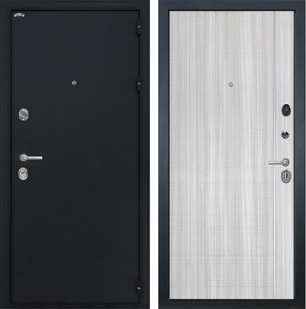 Входная металлическая дверь Интекрон Колизей L-5 (Чёрный шелк / Сандал белый)