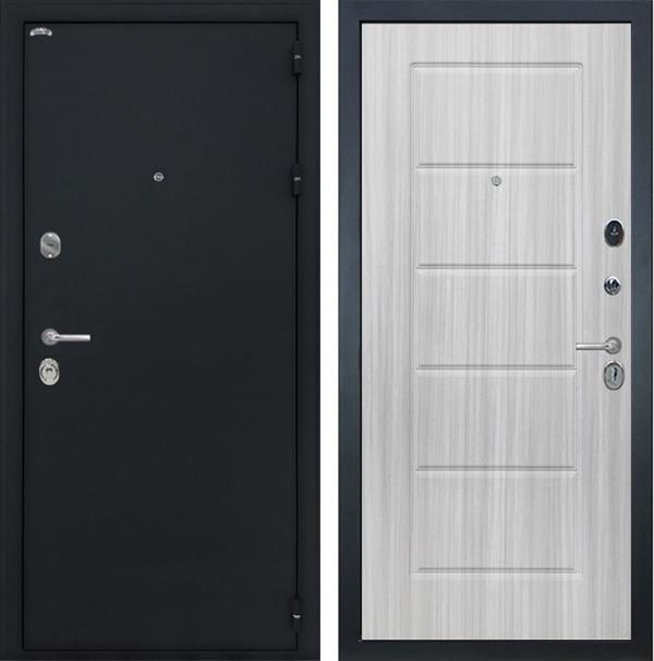 Входная металлическая дверь Интекрон Колизей ФЛ-39 (Чёрный шелк / Сандал белый)