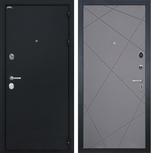 Входная металлическая дверь Интекрон Колизей Лучи (Чёрный шелк / Графит)