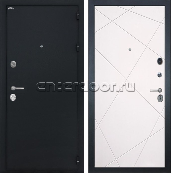 Входная металлическая дверь Интекрон Колизей Лучи (Чёрный шелк / Милк)
