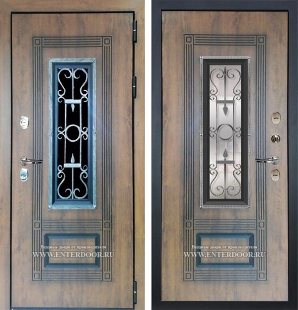 Входная уличная дверь Лекс Термо Русь с окном и ковкой (Голден патина)