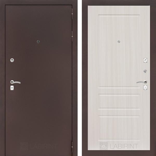 Входная металлическая дверь Лабиринт Классик 3 (Антик медный / Сандал белый)