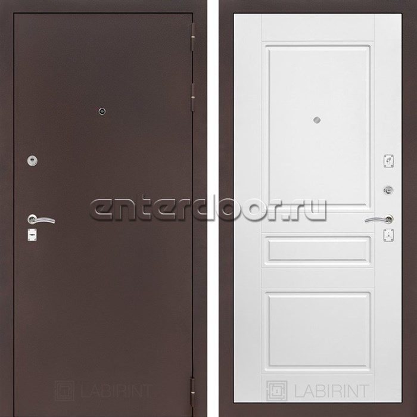 Входная металлическая дверь Лабиринт Классик 3 (Антик медный / Белый софт)