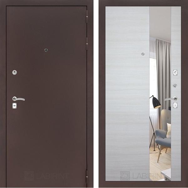 Входная металлическая дверь Лабиринт Классик Зеркало (Антик медный / Акация светлая)