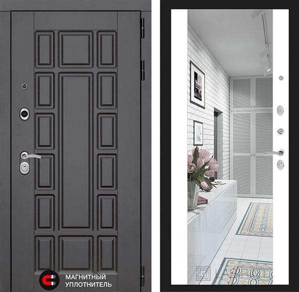 Входная металлическая дверь Лабиринт Нью-Йорк с зеркалом Максимум (Белый софт)