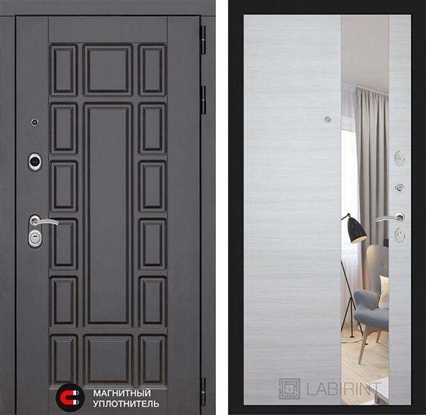 Входная металлическая дверь Лабиринт Нью-Йорк с зеркалом (Акация светлая)