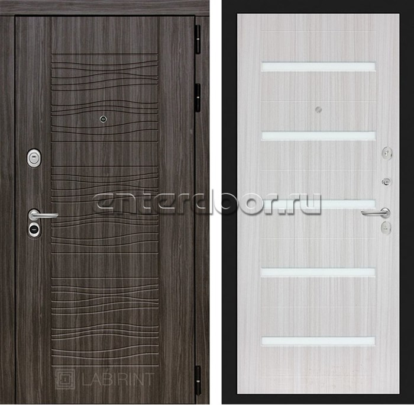 Входная металлическая дверь Лабиринт Сканди 1 (Дарк Грей / Сандал белый)