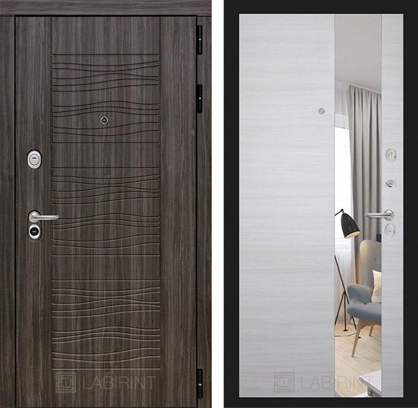 Входная металлическая дверь Лабиринт Сканди с зеркалом (Дарк Грей / Акация светлая)
