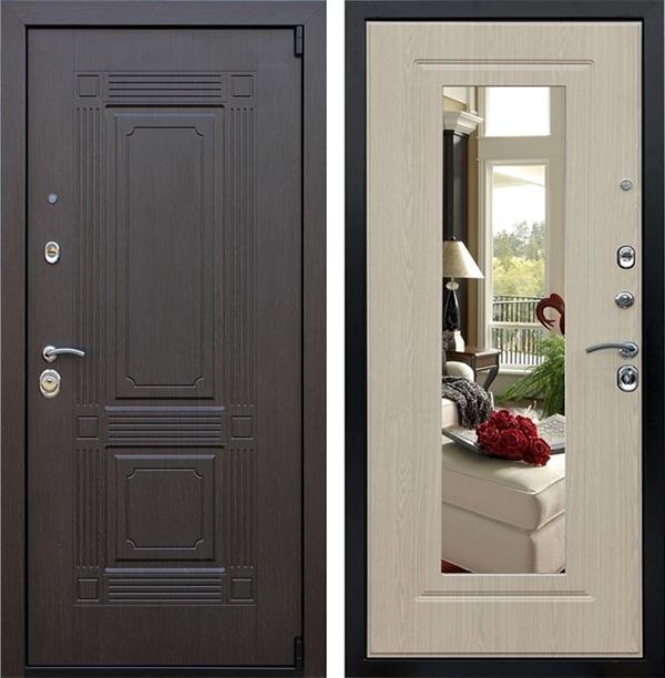 Входная металлическая дверь АСД Викинг с зеркалом (Венге / Белёный дуб)