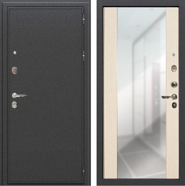 Входная металлическая дверь Лекс Колизей Стиль с зеркалом (Антик темное Серебро / Дуб беленый, панель №45)