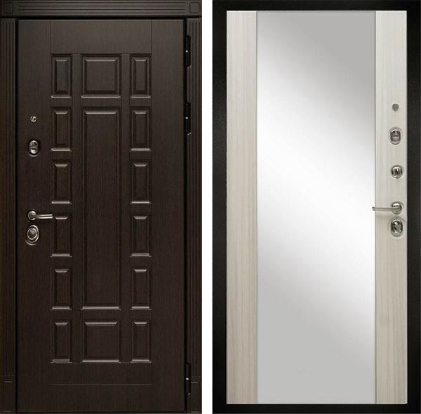 Входная металлическая дверь Дива МД-38 с зеркалом (Венге / Сандал белый)