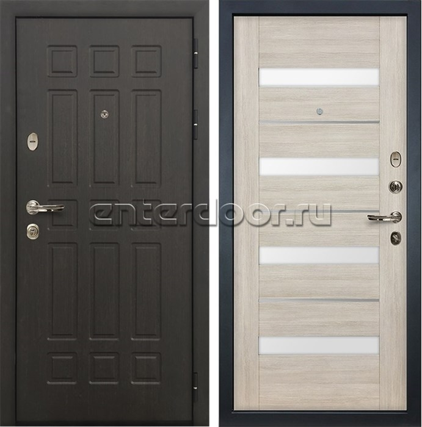 Входная металлическая дверь Лекс 8 Сенатор Экошпон Сицилио Ясень кремовый