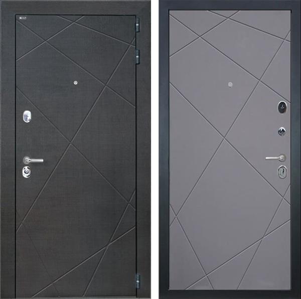Входная металлическая дверь Интекрон Сенатор Лучи (Венге распил кофе / Софт Графит)