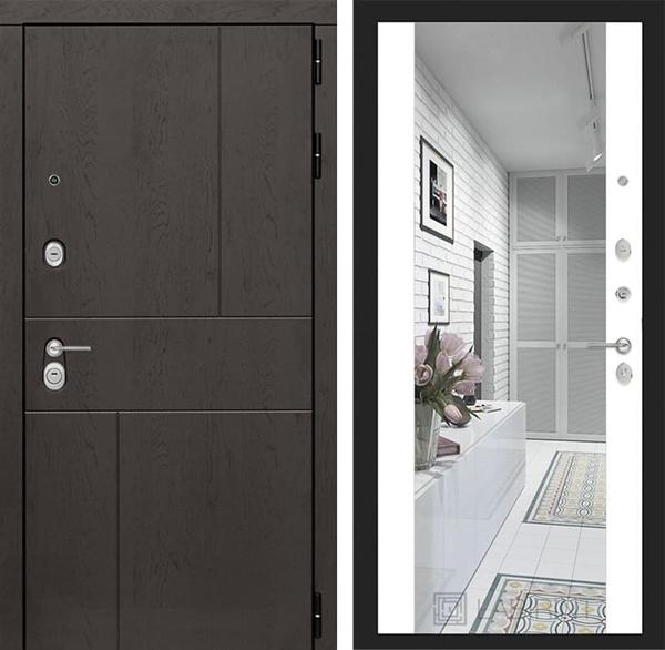 Входная дверь Лабиринт Урбан с Зеркалом Максимум (Дуб горький шоколад / Белый софт)