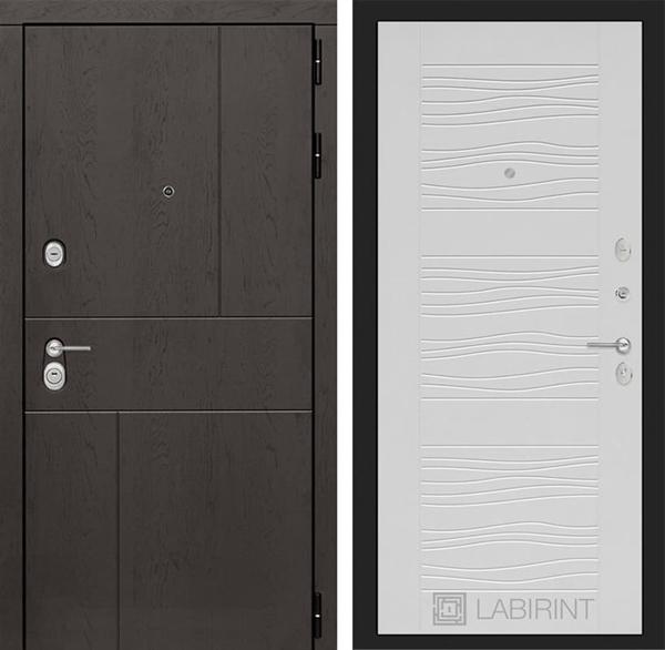Входная металлическая дверь Лабиринт Урбан 6 (Дуб горький шоколад / Белое дерево)