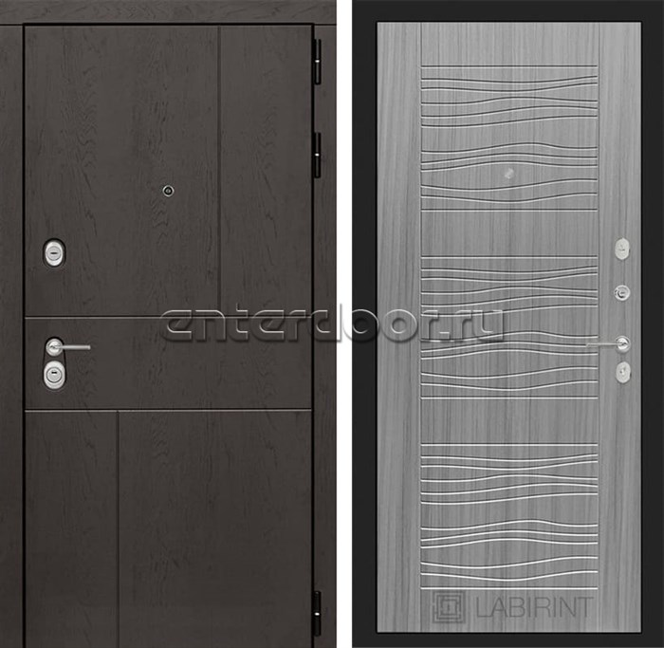 Входная металлическая дверь Лабиринт Урбан 6 (Дуб горький шоколад / Сандал серый)