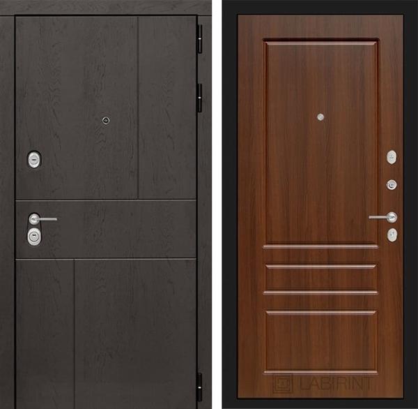 Входная металлическая дверь Лабиринт Урбан 3 (Дуб горький шоколад / Орех бренди)