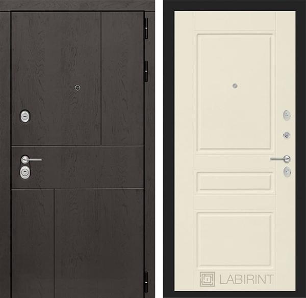Входная металлическая дверь Лабиринт Урбан 3 (Дуб горький шоколад / Крем софт)