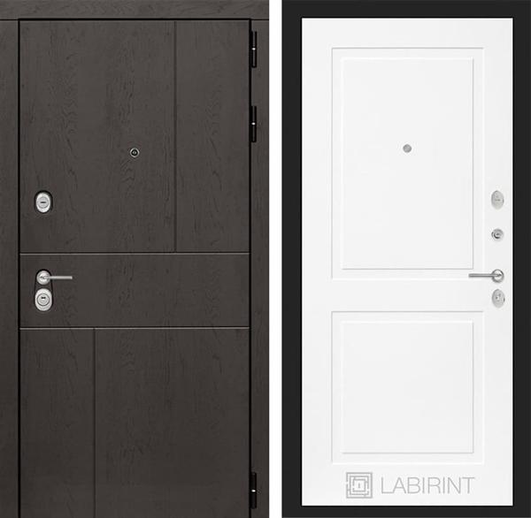 Входная металлическая дверь Лабиринт Урбан 11 (Дуб горький шоколад / Белый софт)