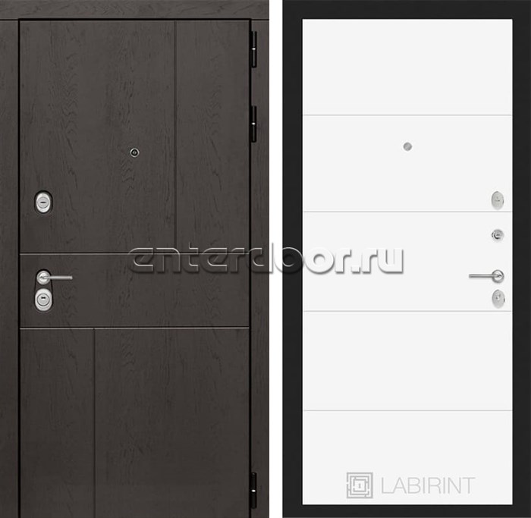 Входная металлическая дверь Лабиринт Урбан 13 (Дуб горький шоколад / Белый софт)