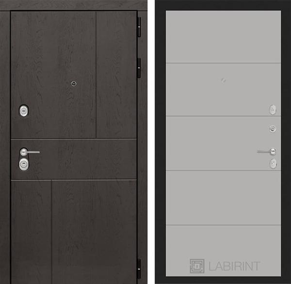 Входная металлическая дверь Лабиринт Урбан 13 (Дуб горький шоколад / Грей софт)