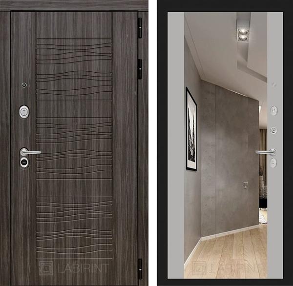 Входная дверь Лабиринт Сканди с Зеркалом Максимум (Дарк Грей / Софт Грей)