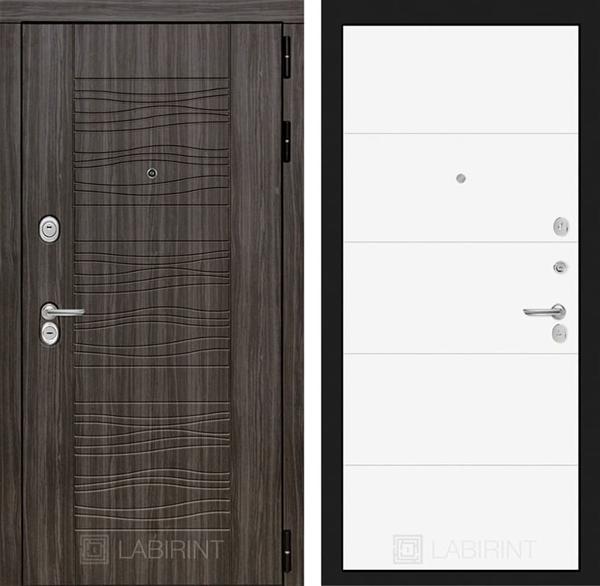 Входная металлическая дверь Лабиринт Сканди 13 (Дарк Грей / Белый софт)