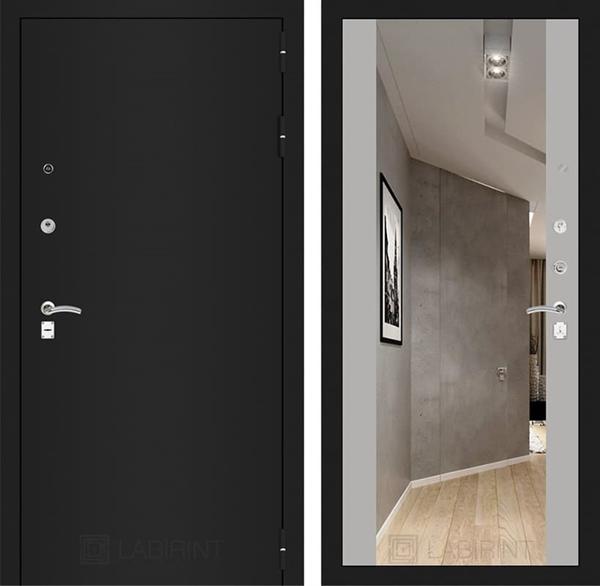 Входная дверь Лабиринт Классик с Зеркалом Максимум (Шагрень черная /  Софт Грей)