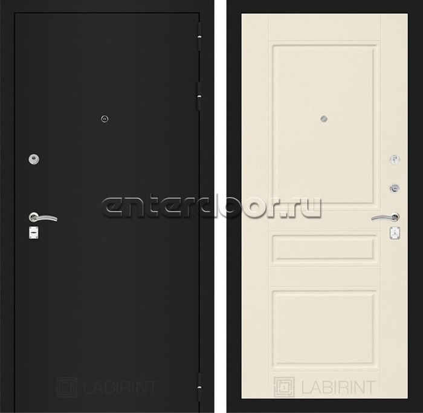 Входная металлическая дверь Лабиринт Классик 3 (Шагрень черная / Крем софт)
