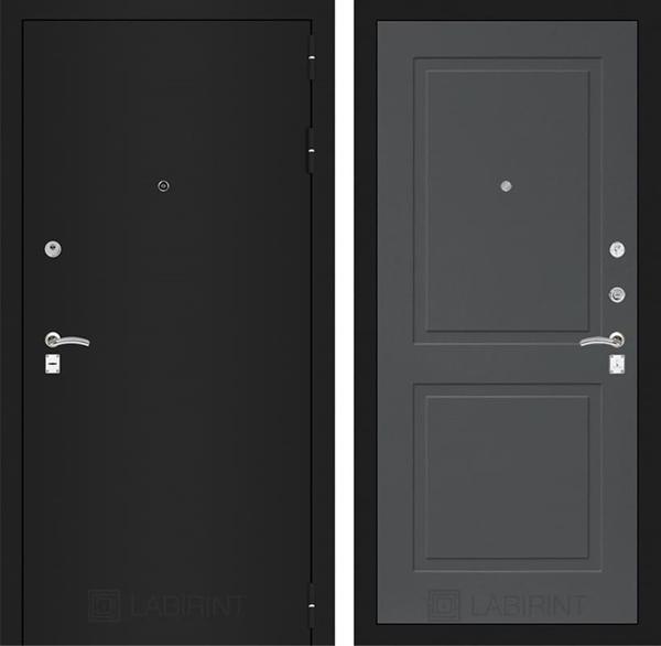Входная металлическая дверь Лабиринт Классик 11 (Шагрень черная / Графит софт)