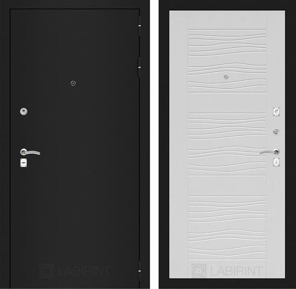 Входная металлическая дверь Лабиринт Классик 6 (Шагрень черная / Белое дерево)