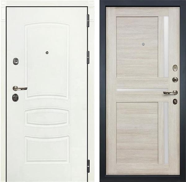 Входная дверь Лекс Сенатор 3К Шагрень белая Баджио (№49 Ясень кремовый)