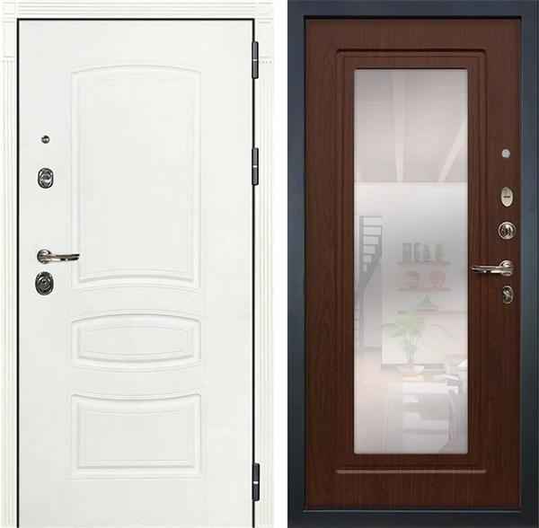 Входная дверь Лекс Сенатор 3К Шагрень белая с Зеркалом (№30 Береза мореная)